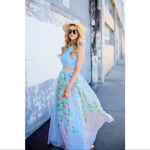 French Connection FLORAL CHIFFON MAXI SKIRT 2/XS/S